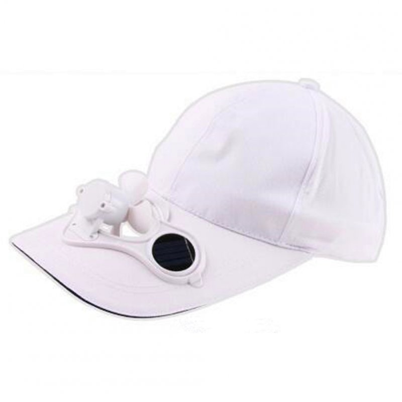 Unisex Peaked Cap Summer Baseball Hat with Solar Powered Fan Cooling Fan Cap for Camping Traveling Outdoor Activities White