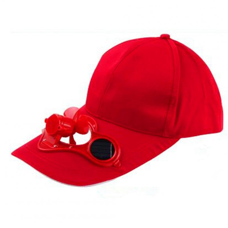 Unisex Peaked Cap Summer Baseball Hat with Solar Powered Fan Cooling Fan Cap for Camping Traveling Outdoor Activities Red