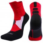 Unisex Professional Deodorant Mid-hose Basketball Sports Socks Stockings red_M[34-38]