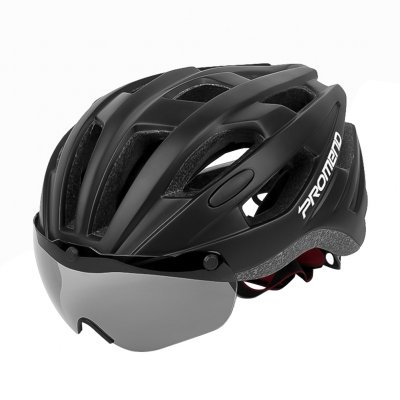 Unisex Riding Helmet with Magnetic Fixed Goggles Road Cycling Equipment black_L
