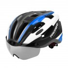 Unisex Riding Helmet with Magnetic Fixed Goggles Road Cycling Equipment Blue Black_L