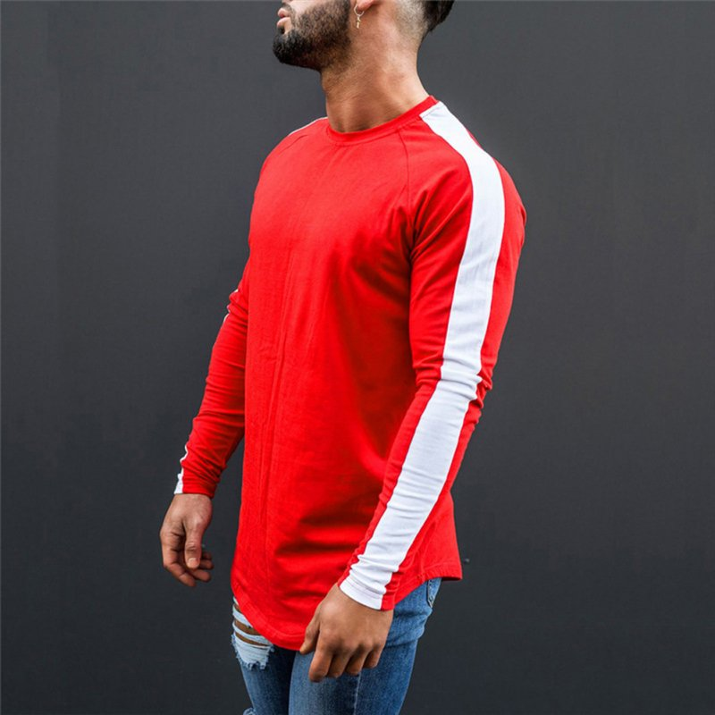 Unisex Round Collar Long Sleeve T-shirt Stitching T-shirt Red and white_XL