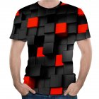 Unisex Round Neck Short Sleeves Geometric Quadrilateral 3D Digital Printing T-shirt as shown_M