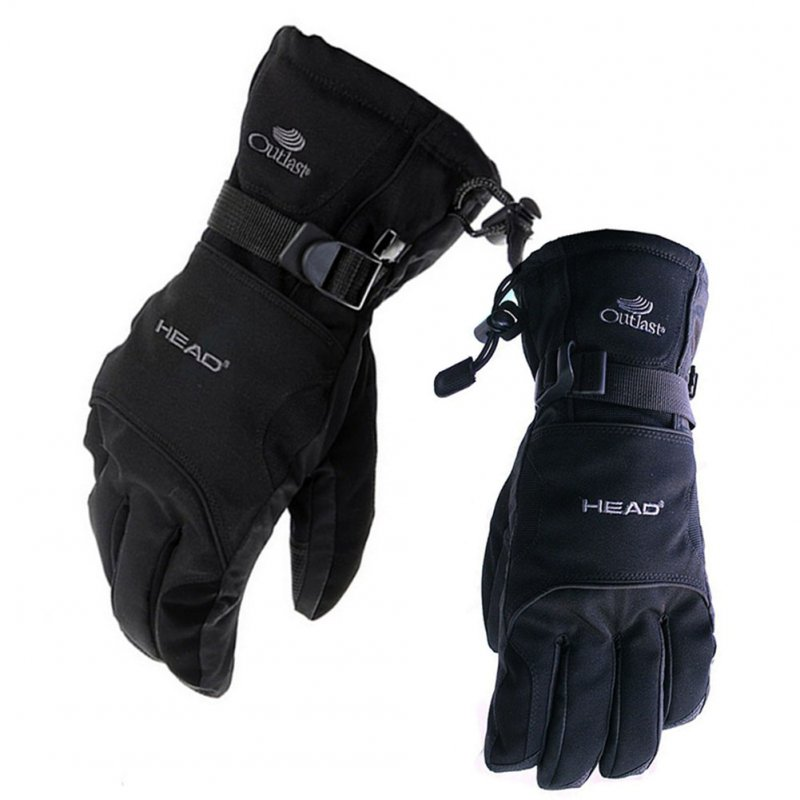 Unisex Snow Ski Waterproof -30C Degree Winter Warm Snowboard Gloves Motocross Windproof Cycling Motorcycle Gloves black_L