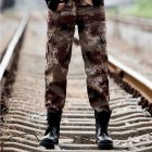 Unisex Special Training Camouflage High Strength Pants Wear Resistant Casual Trousers Desert camouflage _165=S