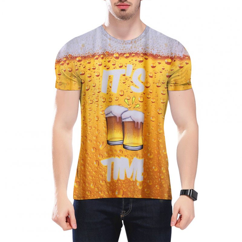 Unisex Stylish 3D Digital Printed Beer Bubble Short Sleeve T-shirt Beer_XXL