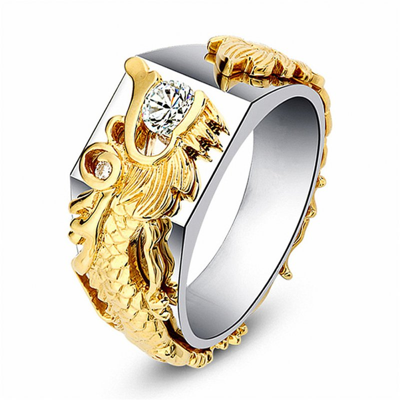 Dragon Pattern Ring -White and gold  US # 6