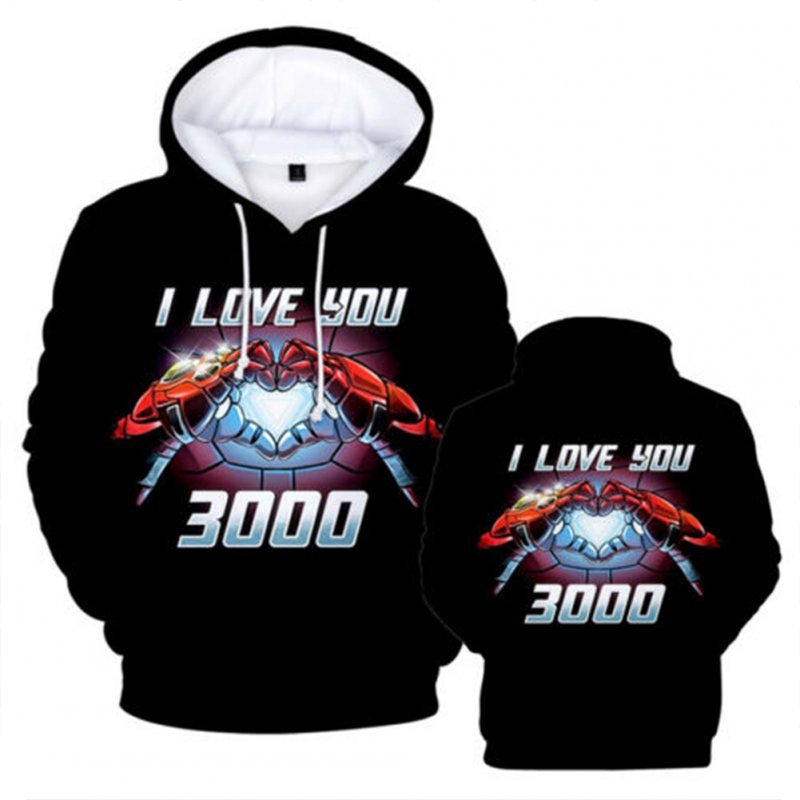 Unisex Summer I Love You 3000 Letters Fashion Printing Long Sleeve Hooded Tops Q-4929-YH03_XL