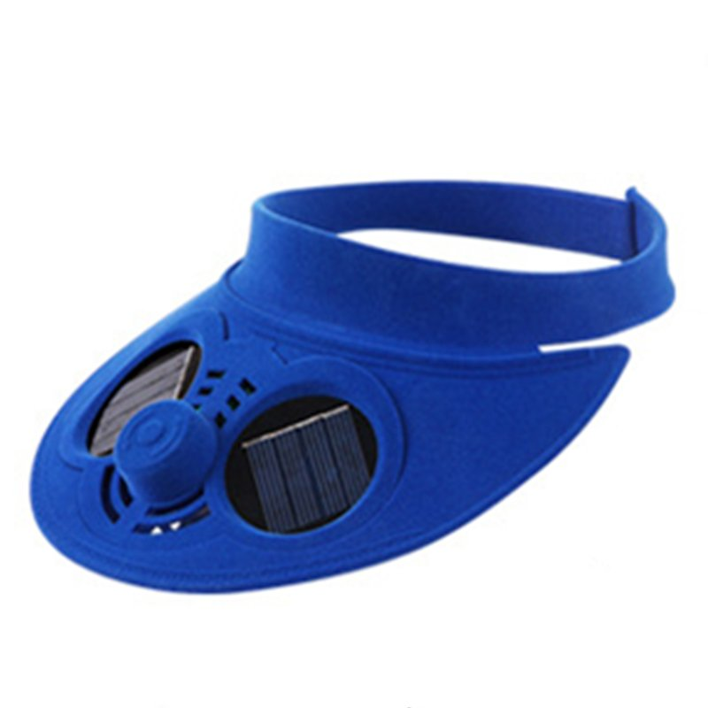 Unisex Summer Sports Cap Empty Top Baseball Hat with Solar Powered Fan Cooling Fan Cap for Camping Traveling Outdoor Activities Blue