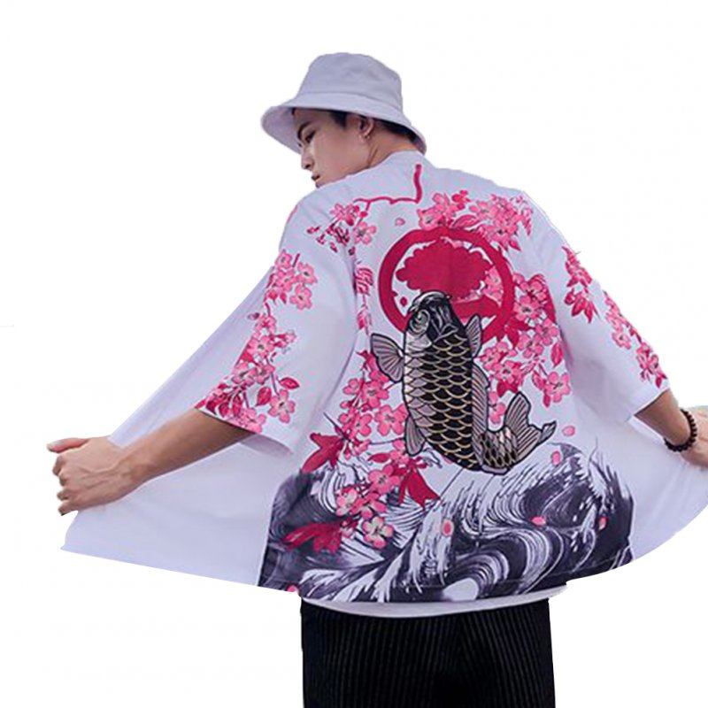 Unisex Vintage Koi Pattern Kimono Chinese Style Loose Sleeve Cotton Shirts Koi white_S