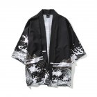 Unisex Vintage Ukiyo-E Pattern Kimono Loose Sleeve Cotton Shirts Tops Dragon black_XXL