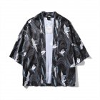 Unisex Vintage Ukiyo-E Pattern Kimono Loose Sleeve Cotton Shirts Tops Crane black_XL
