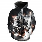 Unisex Vivid 3D Skull Poker Pattern Hoodies Couples Fashion Hooded Tops Baseball Sweatshirts as shown_M