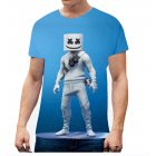 Unisex Vivid Color 3D DJ Marshmello Pattern Fashion Loose Casual Short Sleeve T-shirt K _L
