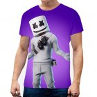 Unisex Vivid Color 3D DJ Marshmello Pattern Fashion Loose Casual Short Sleeve T-shirt  A_XXL