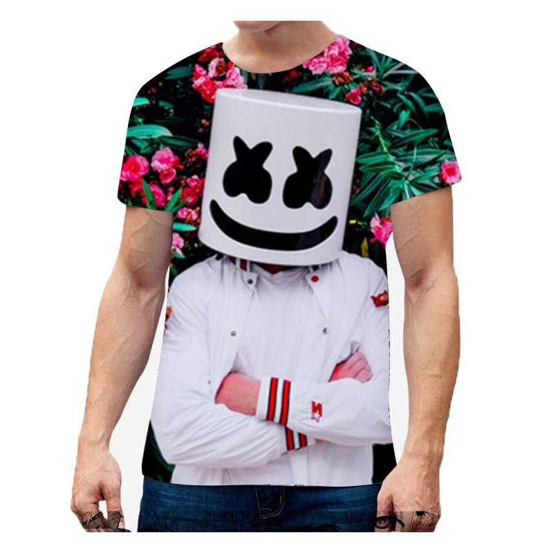 Unisex Vivid Color 3D DJ Marshmello Pattern Fashion Loose Casual Short Sleeve T-shirt D_L