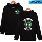 Unisex Zipper Plush Hoodies with Fashion Printing Pattern Black #1_M