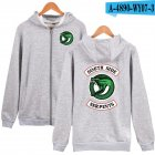 Unisex Zipper Plush Hoodies with Fashion Printing Pattern Gray #1_L