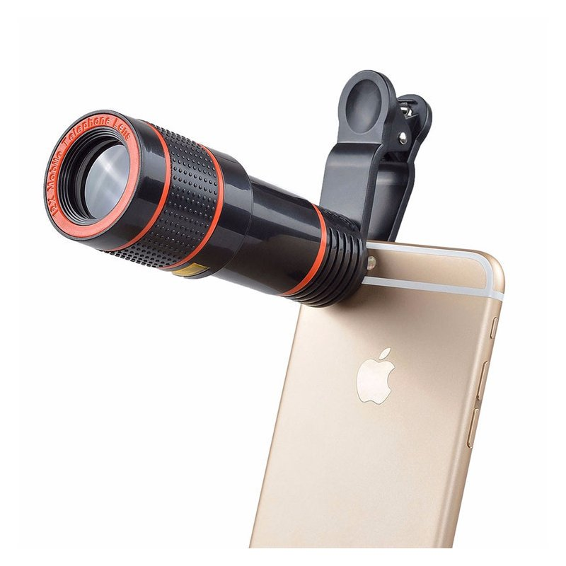 Universal 12X Zoom Focusing Mobile Phone Telephoto Telescope Lens HD External Camera Lens black