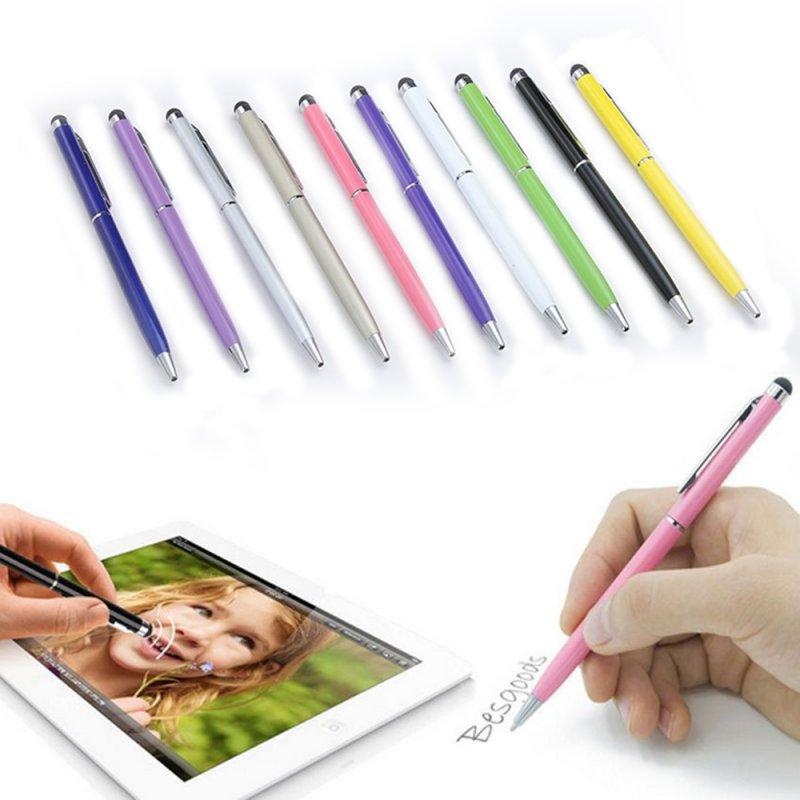Universal 2 in 1 Tablet Capacitive Stylus Pen with Ball Point Pen Microfiber Touch Screen Pen for iPad/Samsung Tablet Random color_3 pieces