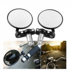 Universal 22mm Motorcycle Round Mirror Rearview Side Mirrors Handle Bar End Mirrors black