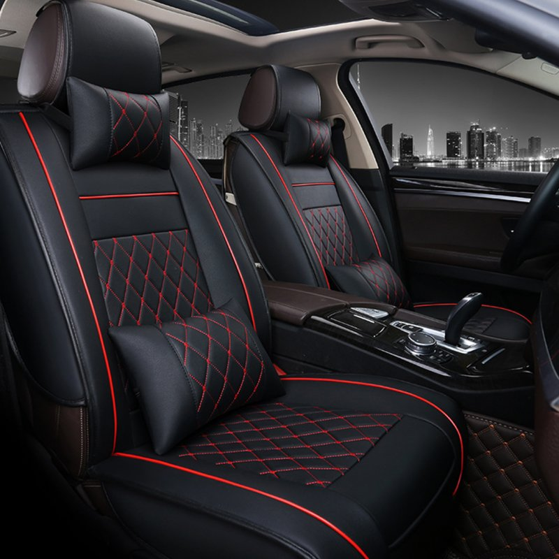 Universal All Car Leather Support Pad Car Seat Covers Cushion Accessories Black and red luxury single