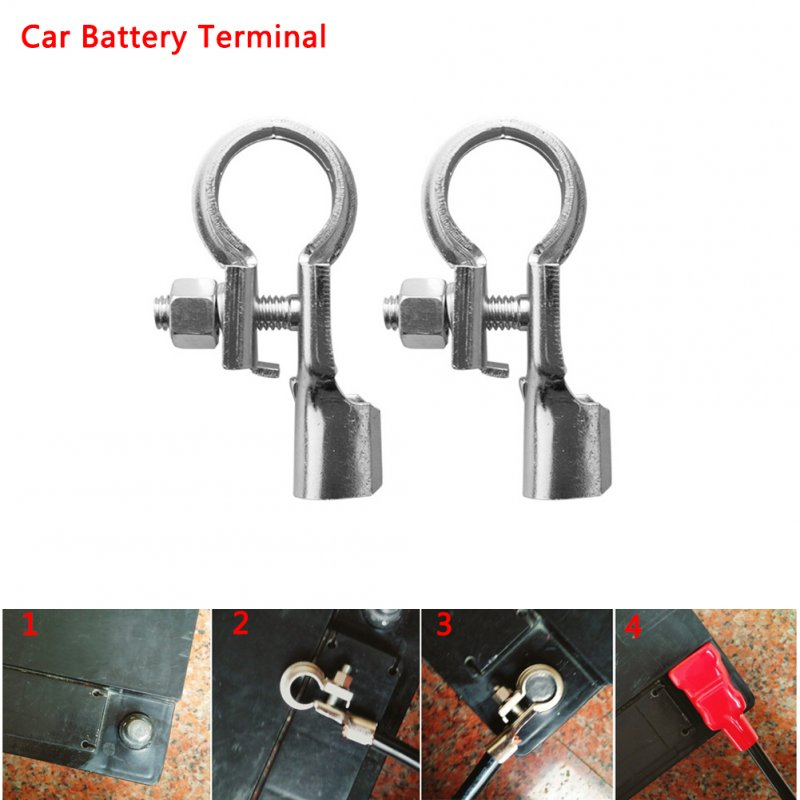 Universal Auto Car Battery Negative Positive Terminal Clamp Clip Brass Connector Silver
