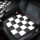 Universal Car Seat Cover PU Ice Silk Cushion Seat  Black and white grid_43 * 43CM