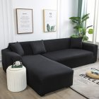 Universal Cloth Sofa Covers for Living Room Elastic Spandex Slipcovers black_Three persons (applicable to 190-230cm)