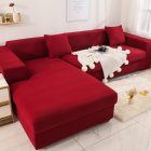 Universal Cloth Sofa Covers for Living Room Elastic Spandex Slipcovers wine red_Three persons (190-230cm applicable