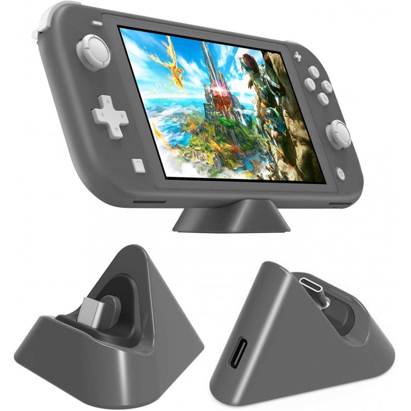 Universal Gaming Machine Portable Triangle Shaped Type-C Charging Base for Switch/Lite gray