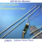 Universal LED Backlight Lamps Update Kit for LCD Monitor 2 LED Strips Support to 24'' 540mm White light
