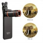 Universal Mobile Phone Lens Clip 8x Optical Zoom Telescope Lens HD Smartphone Camera Lens black