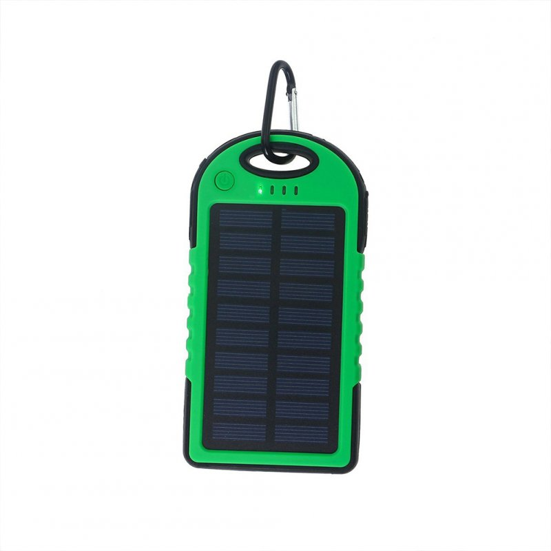 Universal Solar Power Bank 5000mah High-Capacity Solar charger Dual USB Portable External Battery Power Bank with LED Light Apple green