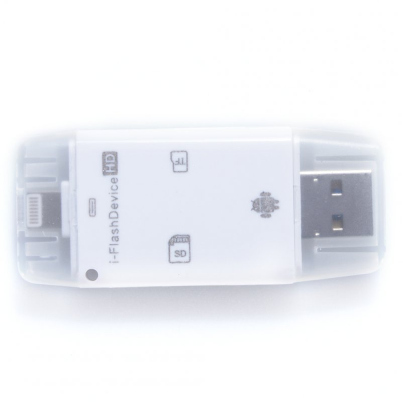 Universal USB Flash Drive SD TF Card Reader for Iphone Android and Computer White