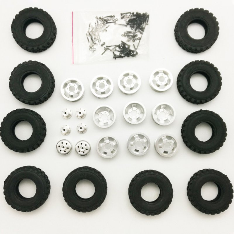 Upgrade DIY Double Tire Metal Modification Wheels Set For WPL B14 B24 B16 B36 JJRC Q60 Q61 Four/Six Drive Army Kass Special Six drive full set of metal wheels (including tires)