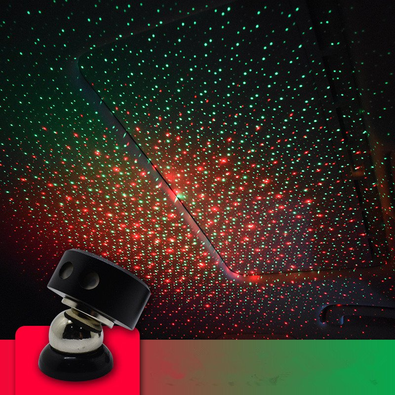 Usb Car Armrest Box Starlight Projector Lamp Decorative Atmosphere Light K1-red and green starry sky (remote control)