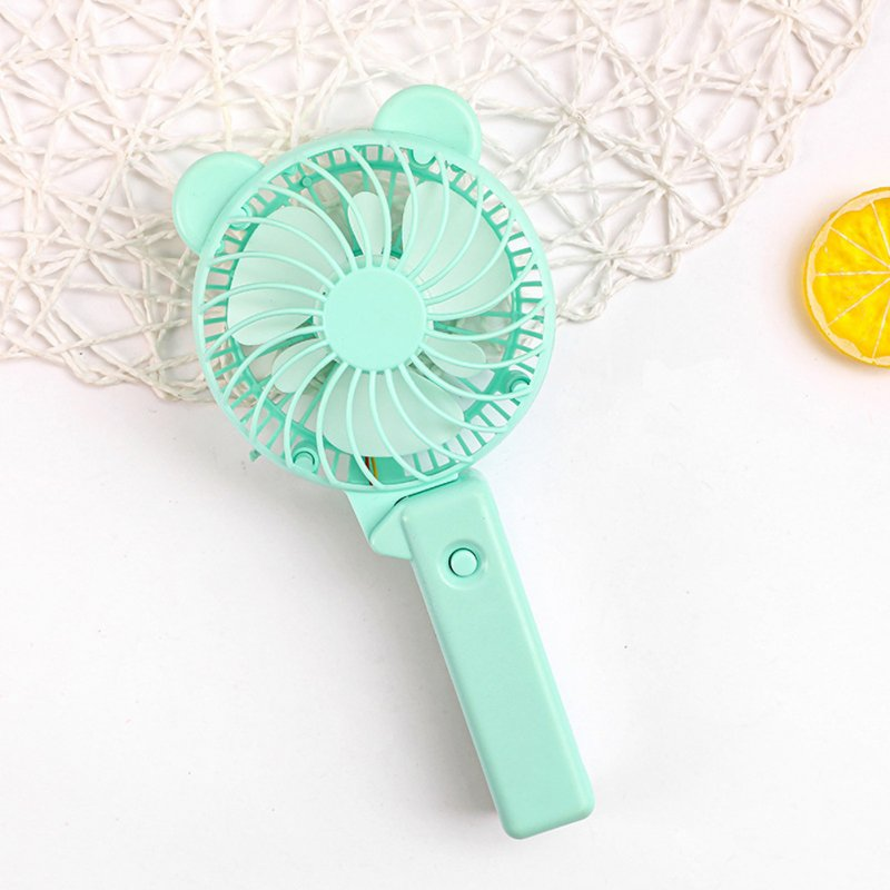 Usb Mini Folding Fans Electric Portable Cartoon Small Fans for Student Desktop Blue round ears_22.5*2.5cm
