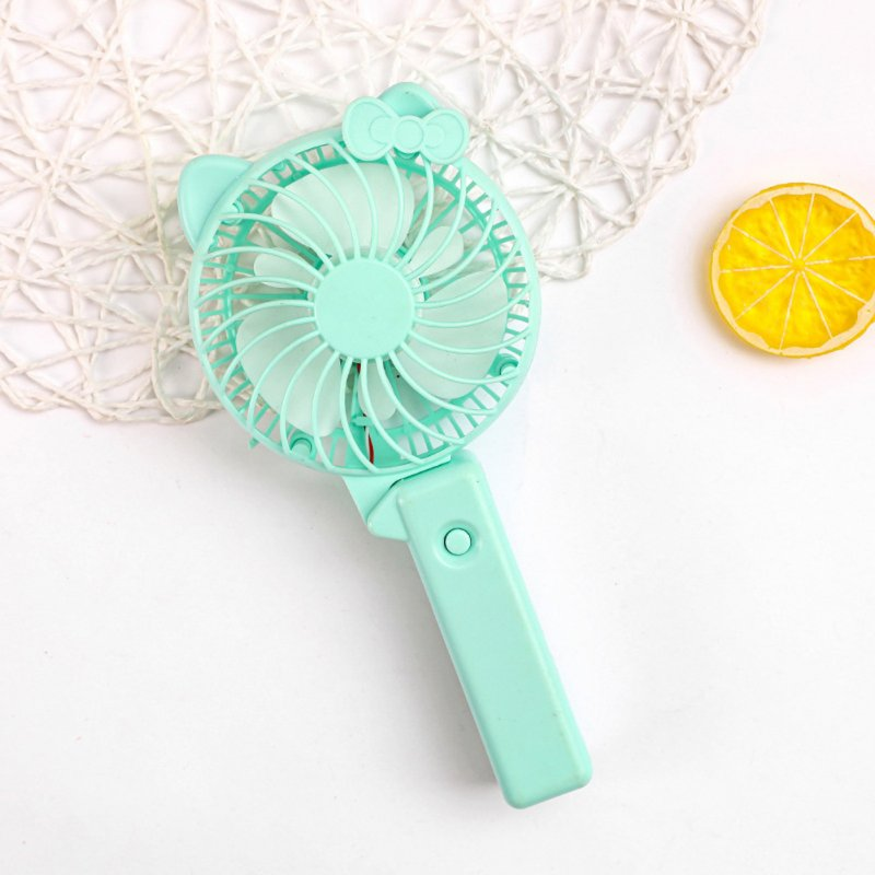 Usb Mini Folding Fans Electric Portable Cartoon Small Fans for Student Desktop Blue pointed ear bow_22.5*2.5cm