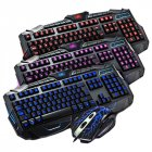V100 Gaming Keyboard Tri-Color Backlit Multimedia Burst Wired Mouse Keyboard Set Black black