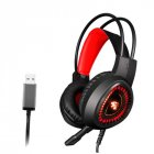 V1000 Headset Heavy Bass Internet Cafe E-sports Game Headphones Luminous 7.1 Channel USB/3.5MM Headset red_7.1 USB interface