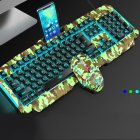 V200 Cool Multicolor Backlit Wired Mechanical Hand Feeling Gaming Keyboard Mouse Suit 0 9 Camouflage