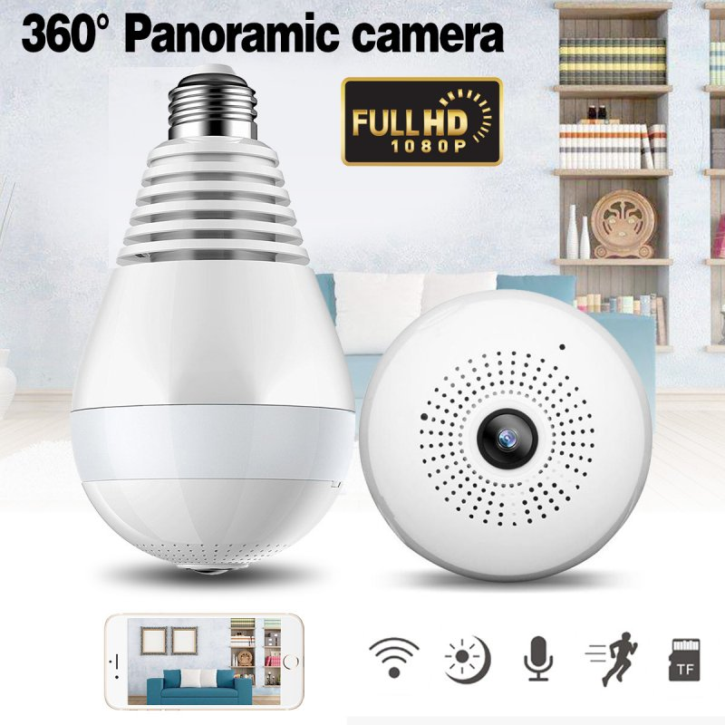 V380 Bulb Shaped Wireless Camera WIFI Remote Monitoring Network Camera Mobile Phone Home 360 Degree Panoramic Monitor 2 million (1080P) pixels