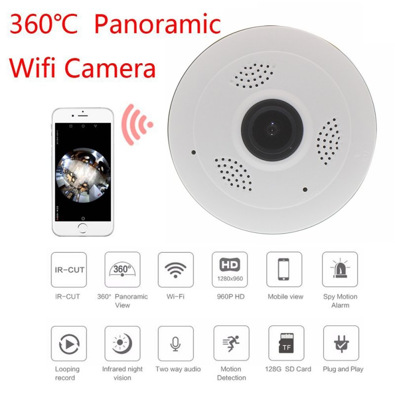V380 HD 360 Degree camera Panoramic Wifi Wireless Home Security Camera Night Vision Camera white_European regulations