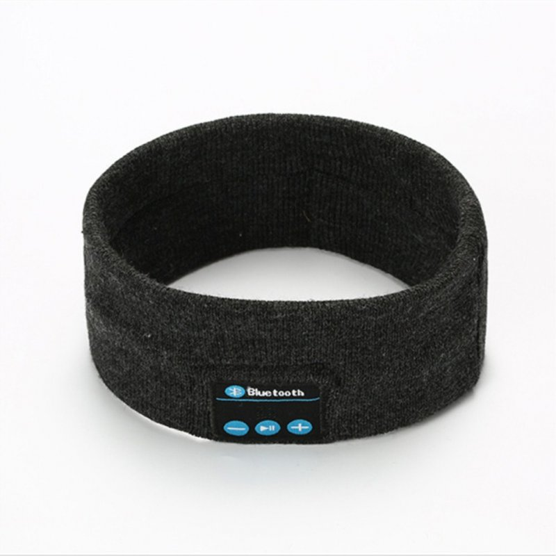 V5.0 Knit Hair Band Bluetooth Ourdoor Running Fitness Sport Music Call Knitting Headwrap Dark gray