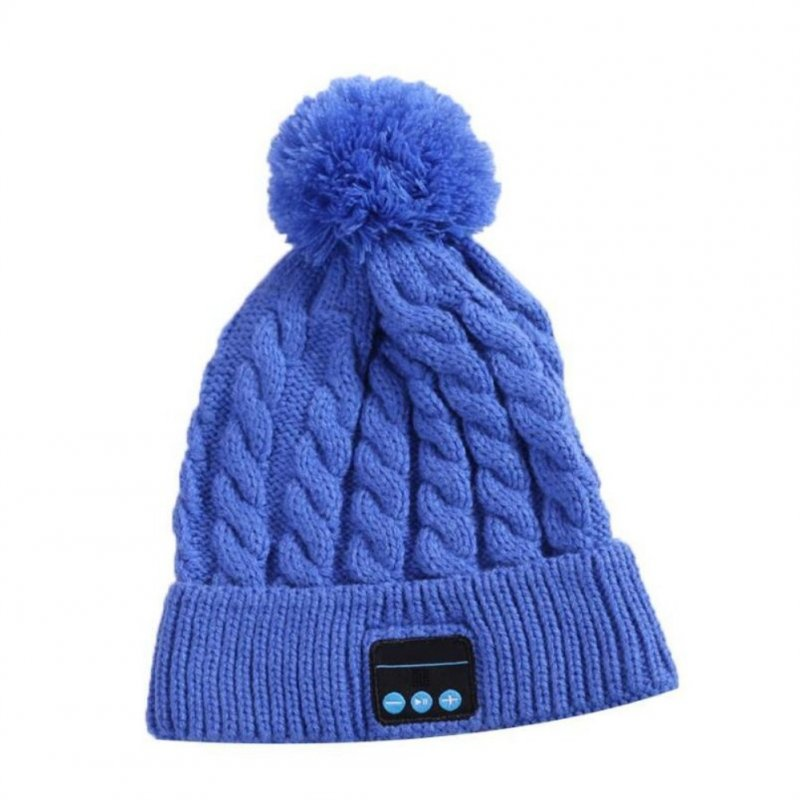 V5.0 Knitted Hat with Ball Wireless Call Music Stereo Sound Bluetooth Hat WM5-blue