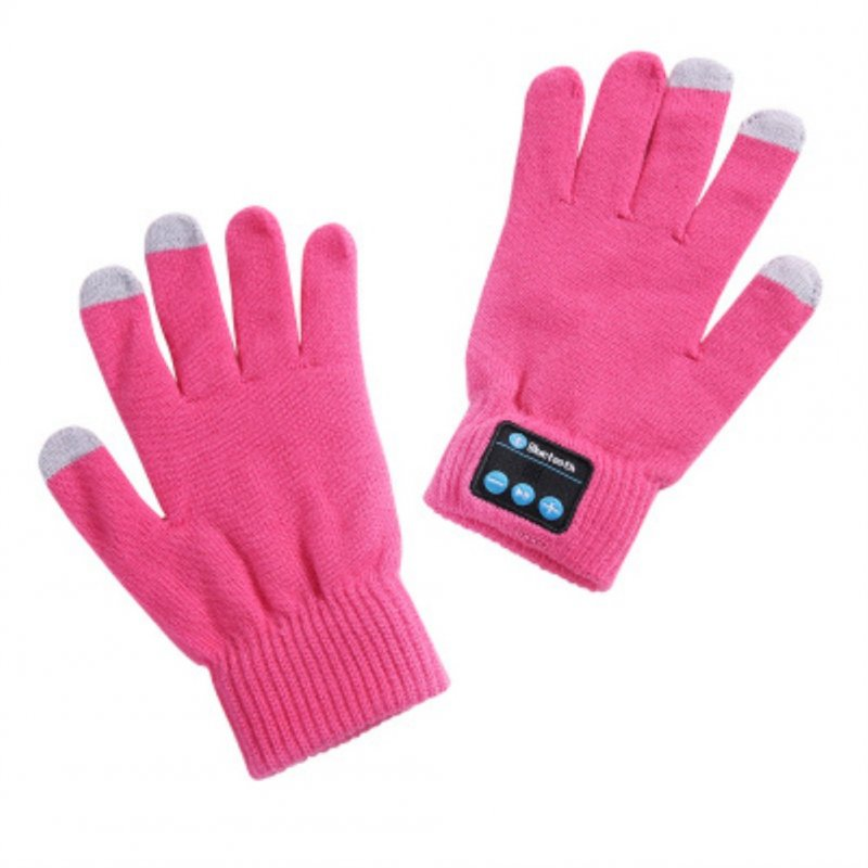 V5.0 Wireless Bluetooth Knit Music Call Touch Screen Gloves ST-pink