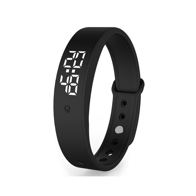 V9 Smart Temperature Measurement Bracelet Waterproof Intelligent Vibration Reminder Monitoring Body Temperature Timer black