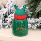Vacuum Cup Christmas Stainless Steel Insulated Bottle with Antler Decoration green