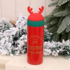 Vacuum Cup Christmas Stainless Steel Insulated Bottle with Antler Decoration red